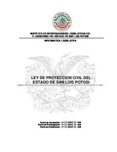 LEY DE PROTECCION CIVIL DEL ESTADO DE SAN LUIS POTOSI