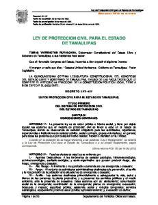 LEY DE PROTECCION CIVIL PARA EL ESTADO DE TAMAULIPAS