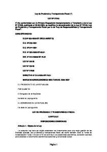 Ley de Prudencia y Transparencia Fiscal (*) LEY Nº 27245