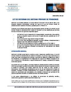 LEY DE REFORMA DEL SISTEMA PRIVADO DE PENSIONES