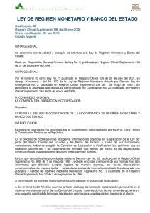 LEY DE REGIMEN MONETARIO Y BANCO DEL ESTADO