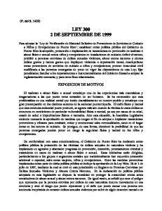 LEY DE SEPTIEMBRE DE 1999