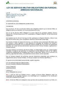 LEY DE SERVICIO MILITAR OBLIGATORIO EN FUERZAS ARMADAS NACIONALES