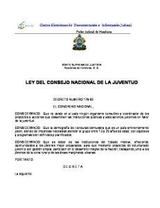 LEY DEL CONSEJO NACIONAL DE LA JUVENTUD