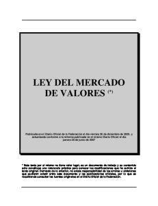 LEY DEL MERCADO DE VALORES (*)