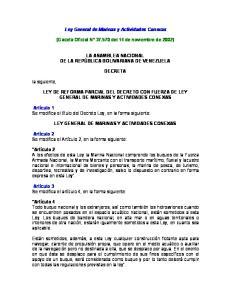 Ley General de Marinas y Actividades Conexas. (Gaceta Oficial N del 14 de noviembre de 2002)