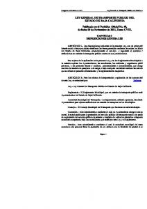 LEY GENERAL DE TRANSPORTE PUBLICO DEL ESTADO DE BAJA CALIFORNIA