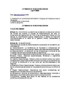 LEY MARCO DE DESCENTRALIZACION Ley N LEY MARCO DE DESCENTRALIZACION