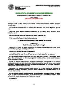 LEY MONETARIA DE LOS ESTADOS UNIDOS MEXICANOS