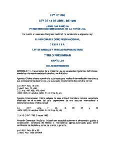 LEY N 1488 LEY DE 14 DE ABRIL DE 1993 TITULO PRELIMINAR