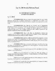 Ley No sobre Reforma Fiscal