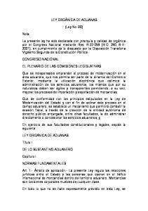 LEY ORGÁNICA DE ADUANAS. (Ley No. 99)