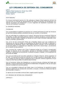 LEY ORGANICA DE DEFENSA DEL CONSUMIDOR