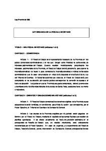 LEY ORGANICA DE LA FISCALIA DE ESTADO