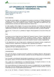 LEY ORGANICA DE TRANSPORTE TERRESTRE TRANSITO Y SEGURIDAD VIAL