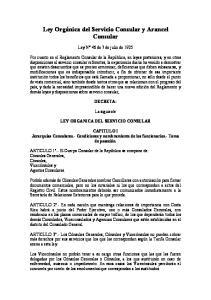 Ley Orgánica del Servicio Consular y Arancel Consular