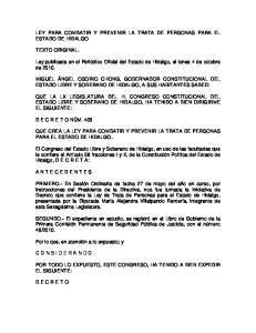 LEY PARA COMBATIR Y PREVENIR LA TRATA DE PERSONAS PARA EL ESTADO DE HIDALGO