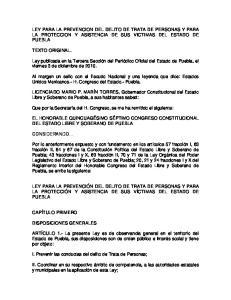 LEY PARA LA PREVENCION DEL DELITO DE TRATA DE PERSONAS Y PARA LA PROTECCION Y ASISTENCIA DE SUS VICTIMAS DEL ESTADO DE PUEBLA