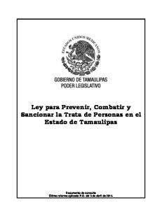 Ley para Prevenir, Combatir y Sancionar la Trata de Personas en el Estado de Tamaulipas