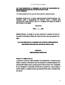 LEY PUBLICADA EN P.O. # 81 DE FECHA 29 DE JUNIO DE 2013