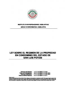 LEY SOBRE EL REGIMEN DE LA PROPIEDAD EN CONDOMINIO DEL ESTADO DE SAN LUIS POTOSI