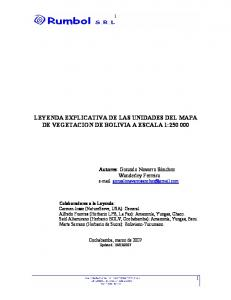 LEYENDA EXPLICATIVA DE LAS UNIDADES DEL MAPA DE VEGETACION DE BOLIVIA A ESCALA 1: