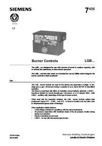 LGB... Burner Controls. Siemens Building Technologies Landis & Staefa Division