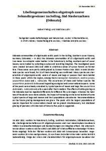 Libellengemeinschaften oligotroph-saurer Sekundärgewässer im Solling, Süd-Niedersachsen (Odonata)