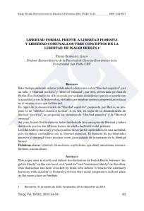 LIBERTAD FORMAL FRENTE A LIBERTAD POSESIVA Y LIBERTAD COMUNAL:LOS TRES CONCEPTOS DE LA LIBERTAD DE ISAIAH BERLIN.1