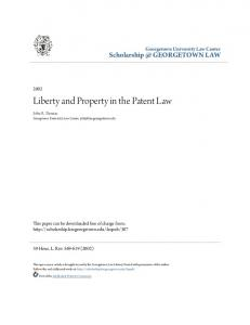 Liberty and Property in the Patent Law