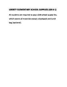 LIBERTY ELEMENTARY SCHOOL SUPPLIES (GR K-1)