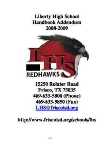 Liberty High School Handbook Addendum