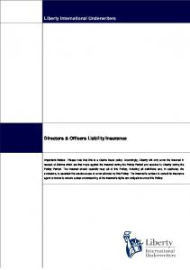 Liberty International Underwriters. Directors & Officers Liability Insurance