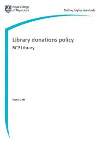 Library donations policy. RCP Library