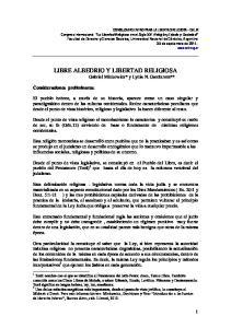 LIBRE ALBEDRIO Y LIBERTAD RELIGIOSA Gabriel Minkowicz* y Lydia N. Garchtrom**