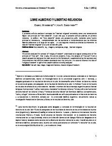 LIBRE ALBEDRIO Y LIBERTAD RELIGIOSA