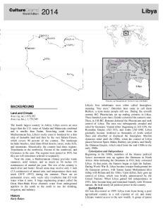 Libya. CultureGrams BACKGROUND. World Edition