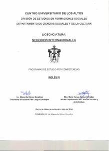 LICECNCIATURA: NEGOCIOS INTERNACIONALES INGLÉS IV