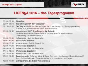 LICEN A 2016 das Tagesprogramm