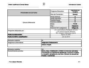 Licenciatura en Actuaría PROGRAMA DE ESTUDIO