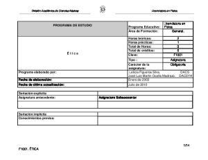 Licenciatura en Física PROGRAMA DE ESTUDIO Programa Educativo: Área de Formación: