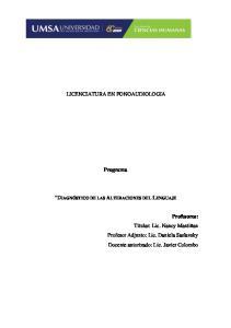 LICENCIATURA EN FONOAUDIOLOGIA. Programa