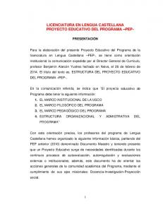 LICENCIATURA EN LENGUA CASTELLANA PROYECTO EDUCATIVO DEL PROGRAMA PEP-