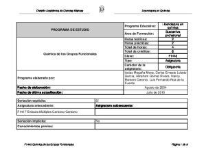Licenciatura en Química PROGRAMA DE ESTUDIO. Obligatoria Isaías Magaña Mena, Carlos Ernesto Lobato Programa elaborado por: