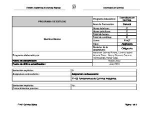 Licenciatura en Química PROGRAMA DE ESTUDIO. Obligatoria Abraham Gómez Rivera, Lorena Isabel Programa elaborado por: