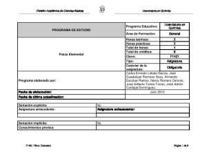 Licenciatura en Química PROGRAMA DE ESTUDIO