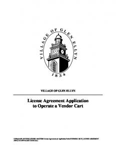 License Agreement Application to Operate a Vendor Cart