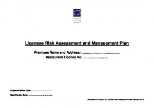 Licensee Risk Assessment and Management Plan