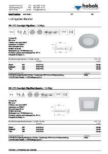 Lichtsystem Meister. NV-LED-Downlight Big-Shot 7.5 Watt. NV-LED-Downlight Big-Shot-Quadro 7.5 Watt. Detail Preisliste (exkl. MwSt
