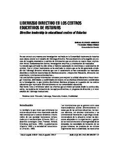 LIDERAZGO DIRECTIVO EN LOS CENTROS EDUCATIVOS DE ASTURIAS